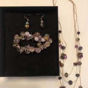 Cake Brand Earring, Bracelet and Necklace Crystal